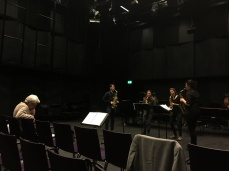 Georges Aperghis with sax students at ZHdK 2016
